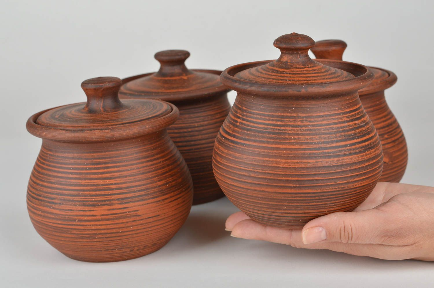 Set of handmade ceramic pots with lids for baking 4 items for 400 ml photo 4