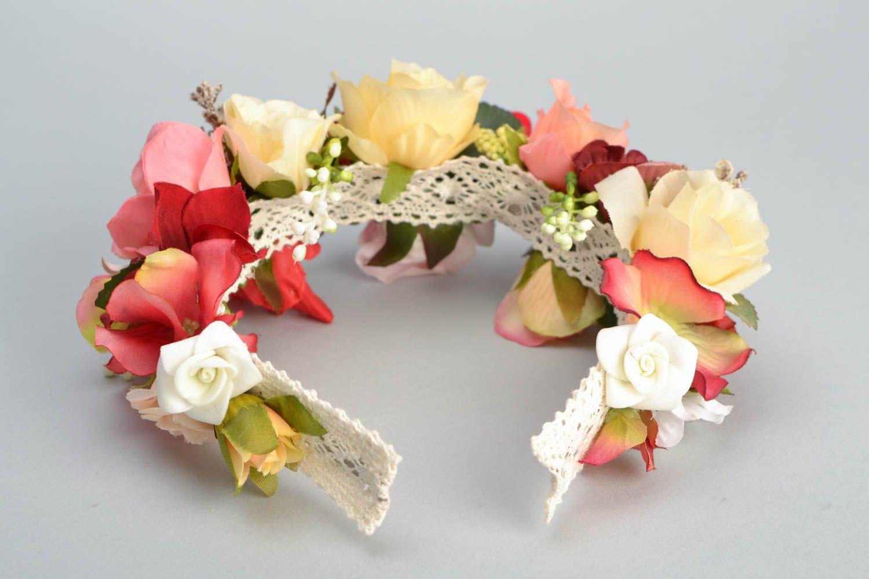 Венок на голову ручной работы с цветами Розы фото 5