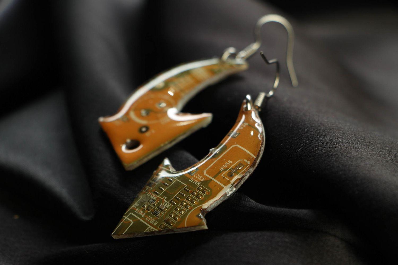 Unusual metal earrings in steampunk style Arrows photo 2