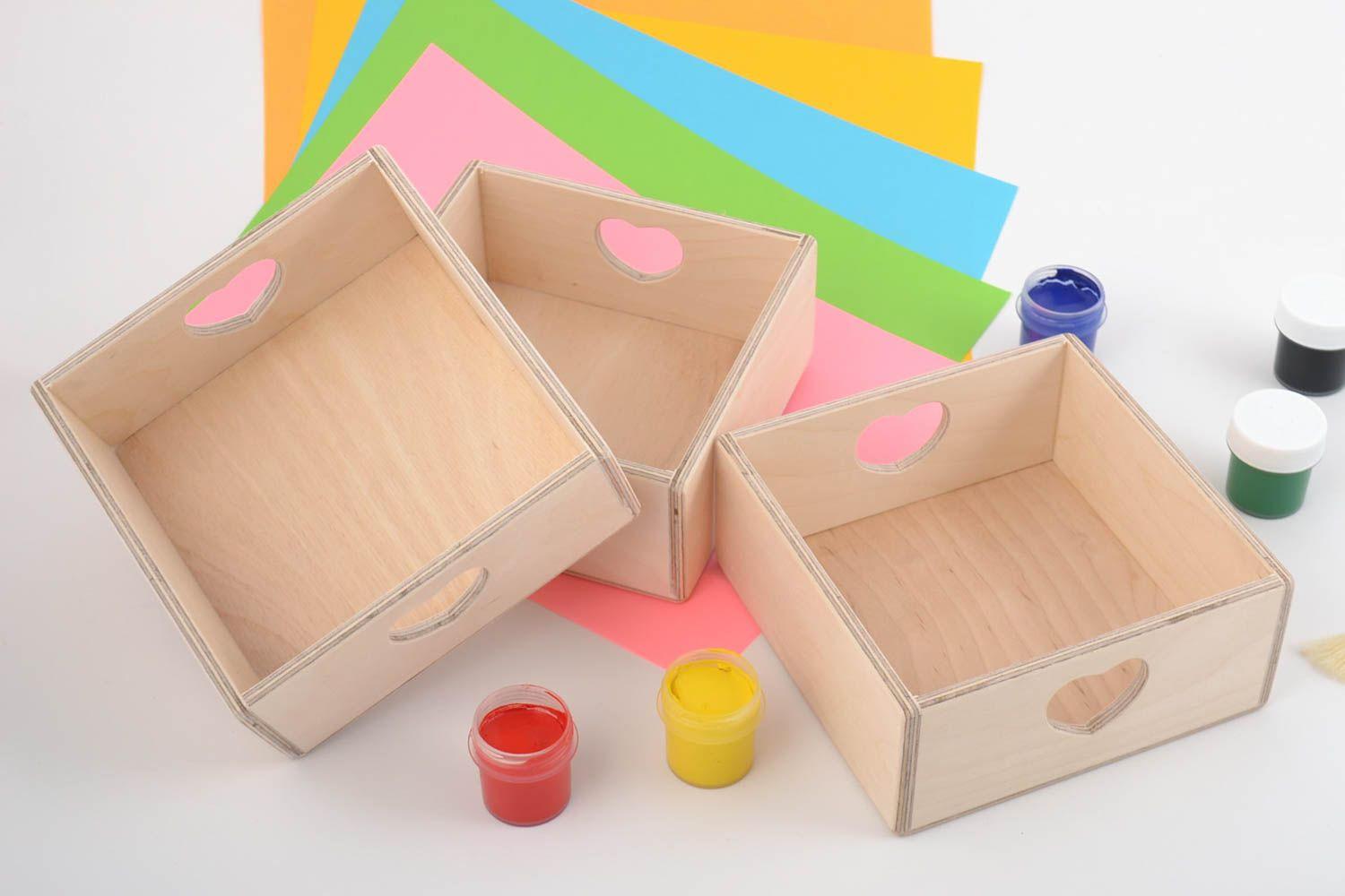 Set of 3 handmade plywood craft blanks DIY boxes with hearts photo 1