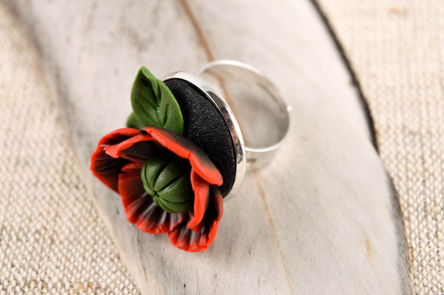 Handmade polymer clay ring unusual adjustable ring unusual flower ring photo 1
