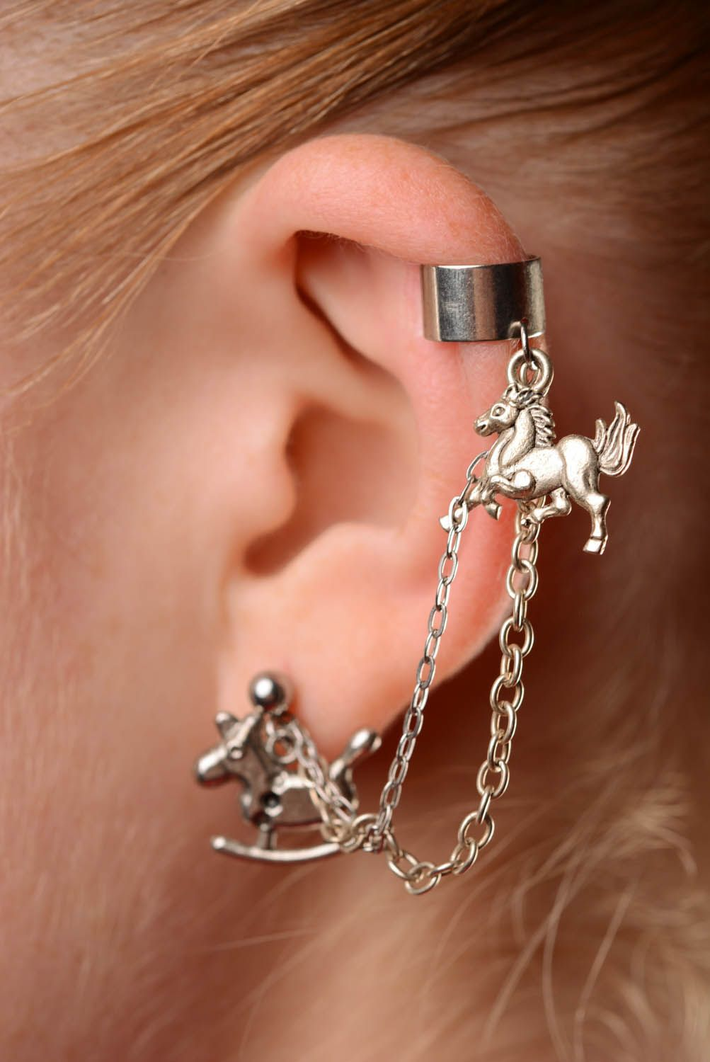 Cuff earrings Horses photo 3