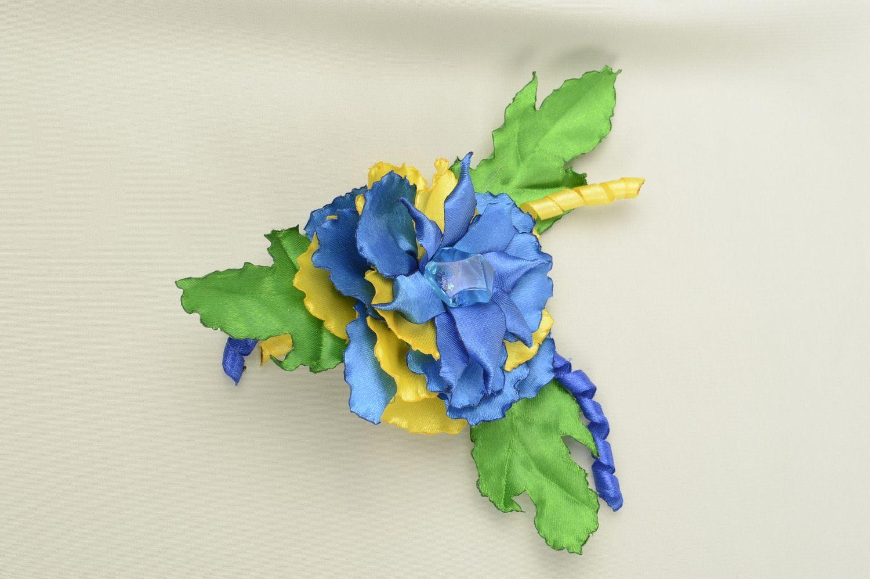 Handmade children scrunchy flower satin ribbon accessory for girls gift idea photo 1