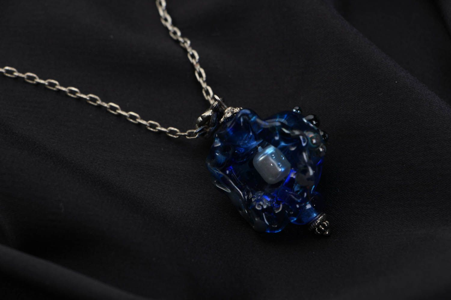 Glass pendant Blue Shell photo 2