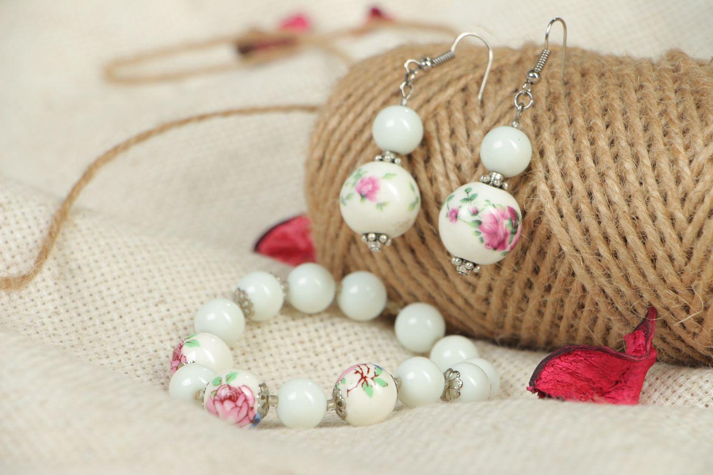 Ceramics and Czech glass jewelry set earrings and bracelet photo 5