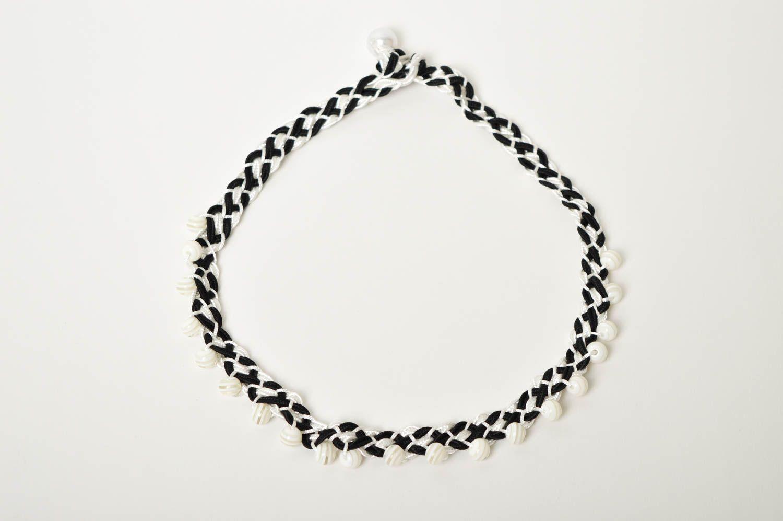 Handmade beaded necklace black and white thread necklace stylish jewelry  photo 3