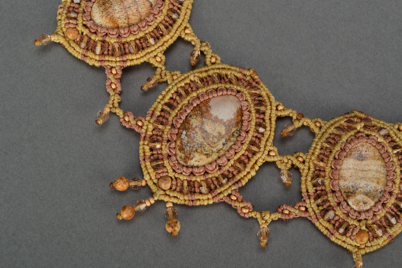 Massive woven necklace with jasper photo 4
