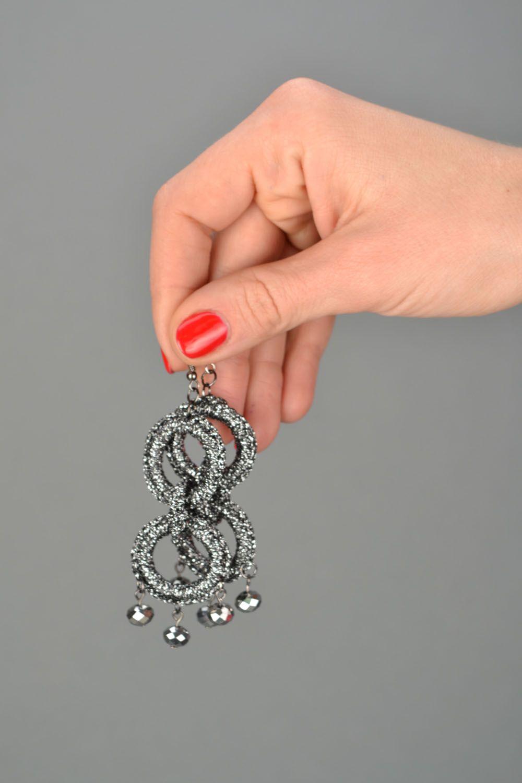 Crochet earrings Silvery color photo 2