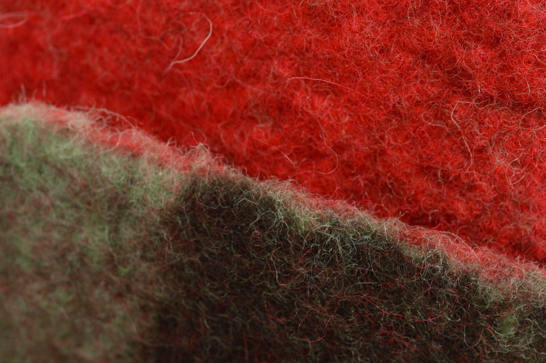 Handmade red felted wool sauna hat designer sauna accessories photo 2