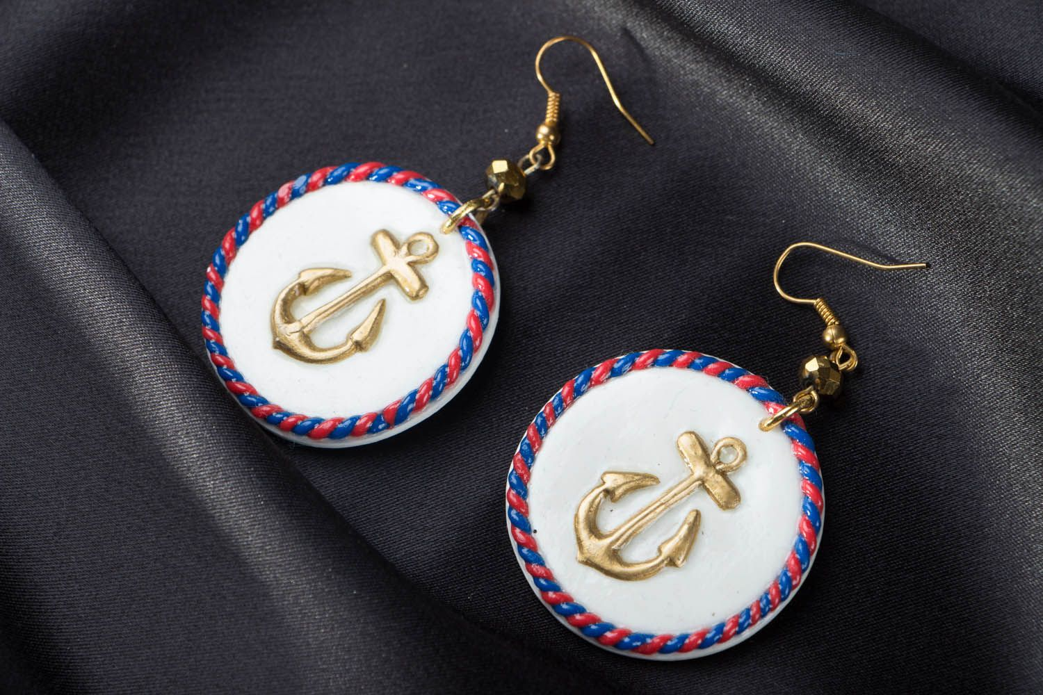 Polymer clay earrings in marine style photo 1