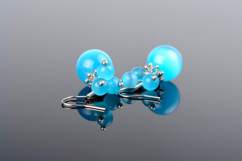 Boucles d'oreilles avec opale oeil de chat photo 1
