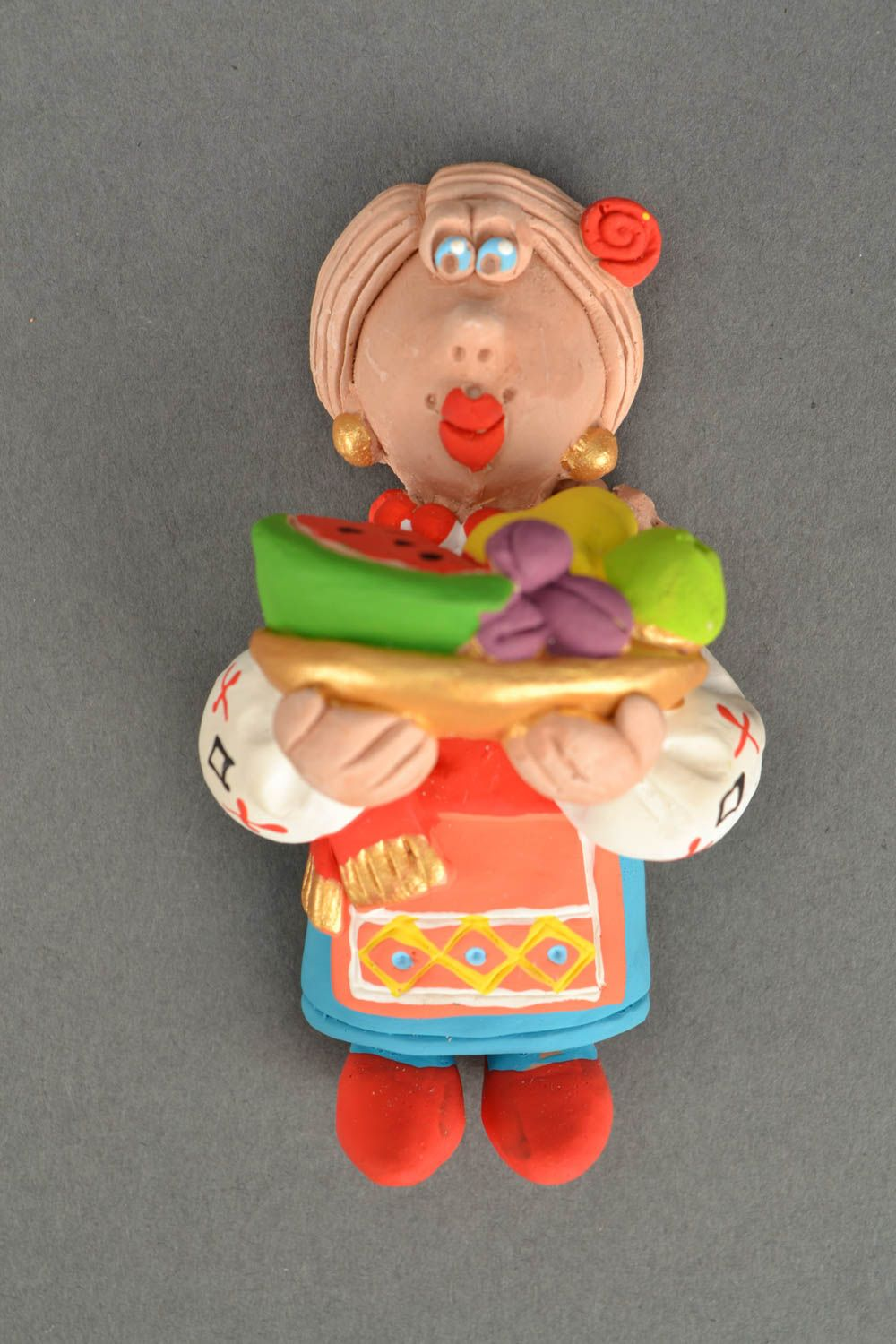 Homemade fridge magnet Cossack Woman with Fruit photo 5