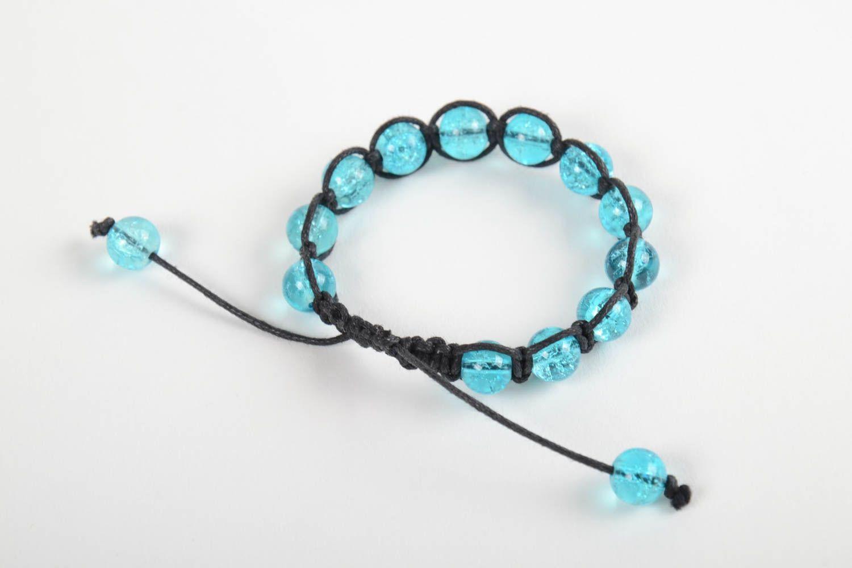 Handmade adjustable bracelet blue beaded accessory stylish wrist bracelet photo 1