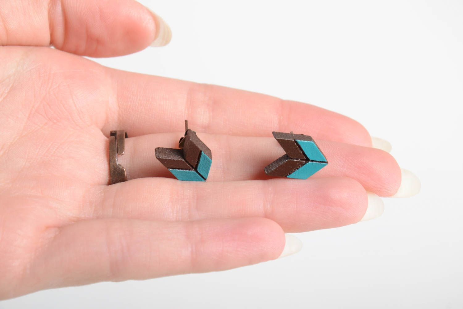 Unusual handmade wooden earrings wooden ring artisan jewelry set gifts for her photo 3