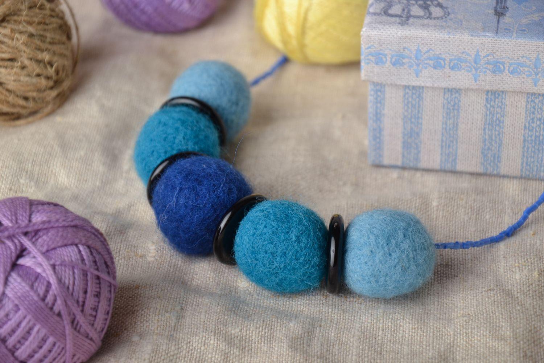 Wool felt necklace in blue color palette  photo 1