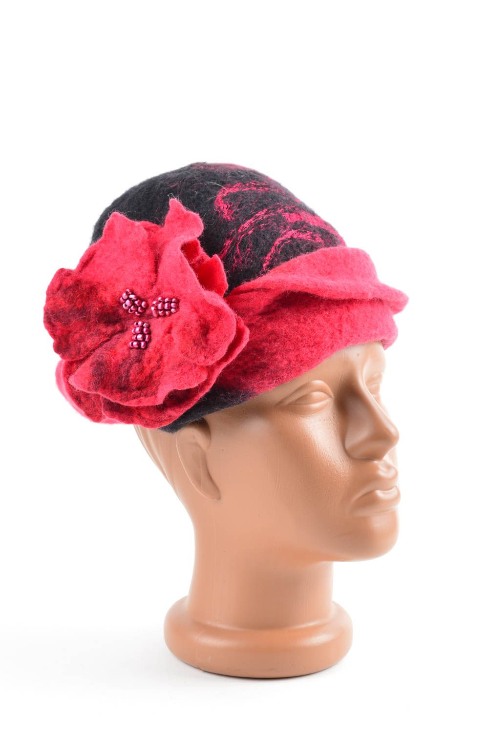 headwear Handmade designer woolen cap unusual winter headwear beautiful red hat - MADEheart.com
