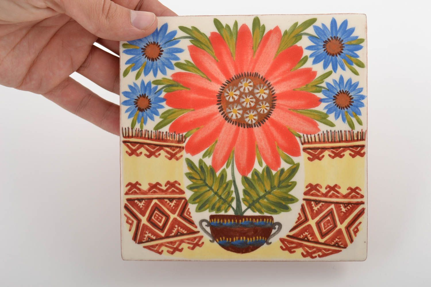 Square handmade wall tile with flowers made of clay colorful interior wall panel photo 2