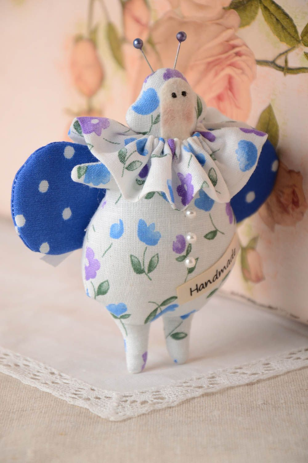 Beautiful homemade fabric toy stuffed soft toy collectible rag doll gift ideas photo 1