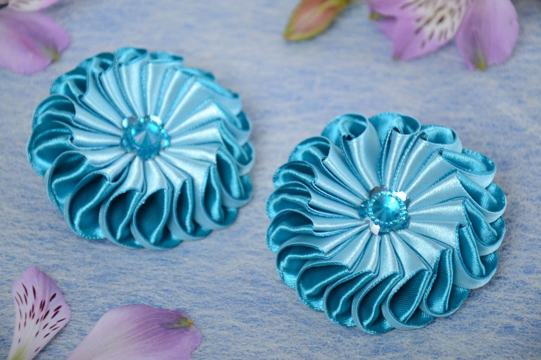 Set of 2 handmade children's blue satin ribbon flower hair ties kanzashi photo 1