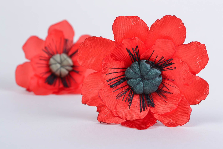 Handmade designer bright satin ribbon flower brooch Red Poppy present for women photo 1