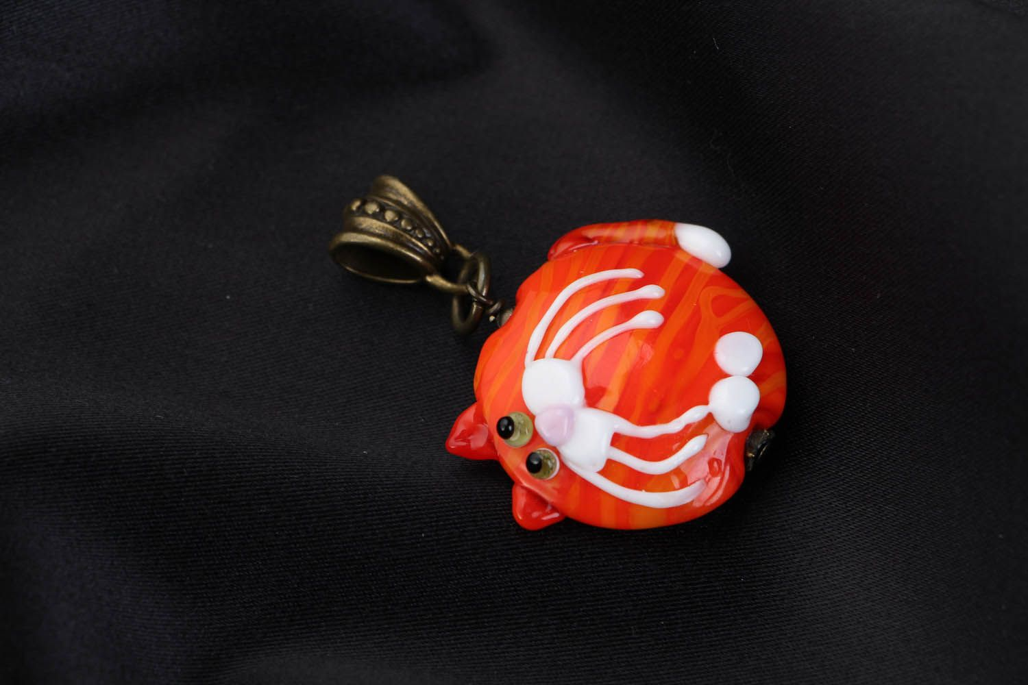 Glass pendant Orange Cat photo 1