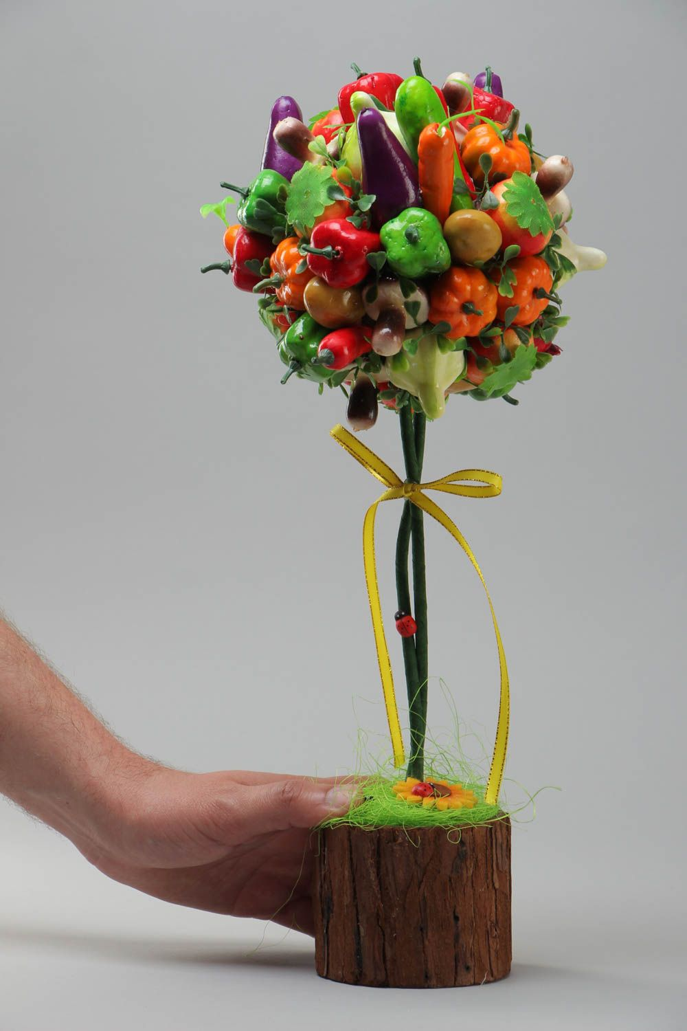 Handmade decorative bright topiary tree with fruit and vegetables for table decor photo 5