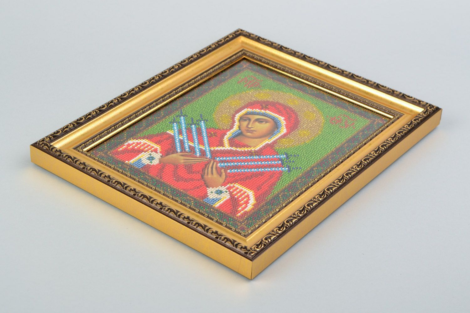 Handmade icon of the Mother of God of Ostrobram embroidered with beads in frame photo 4