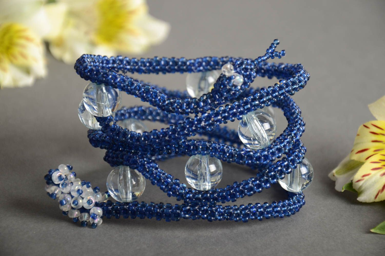 Handmade designer multi row bead woven wrist bracelet Blue Snake for women photo 1