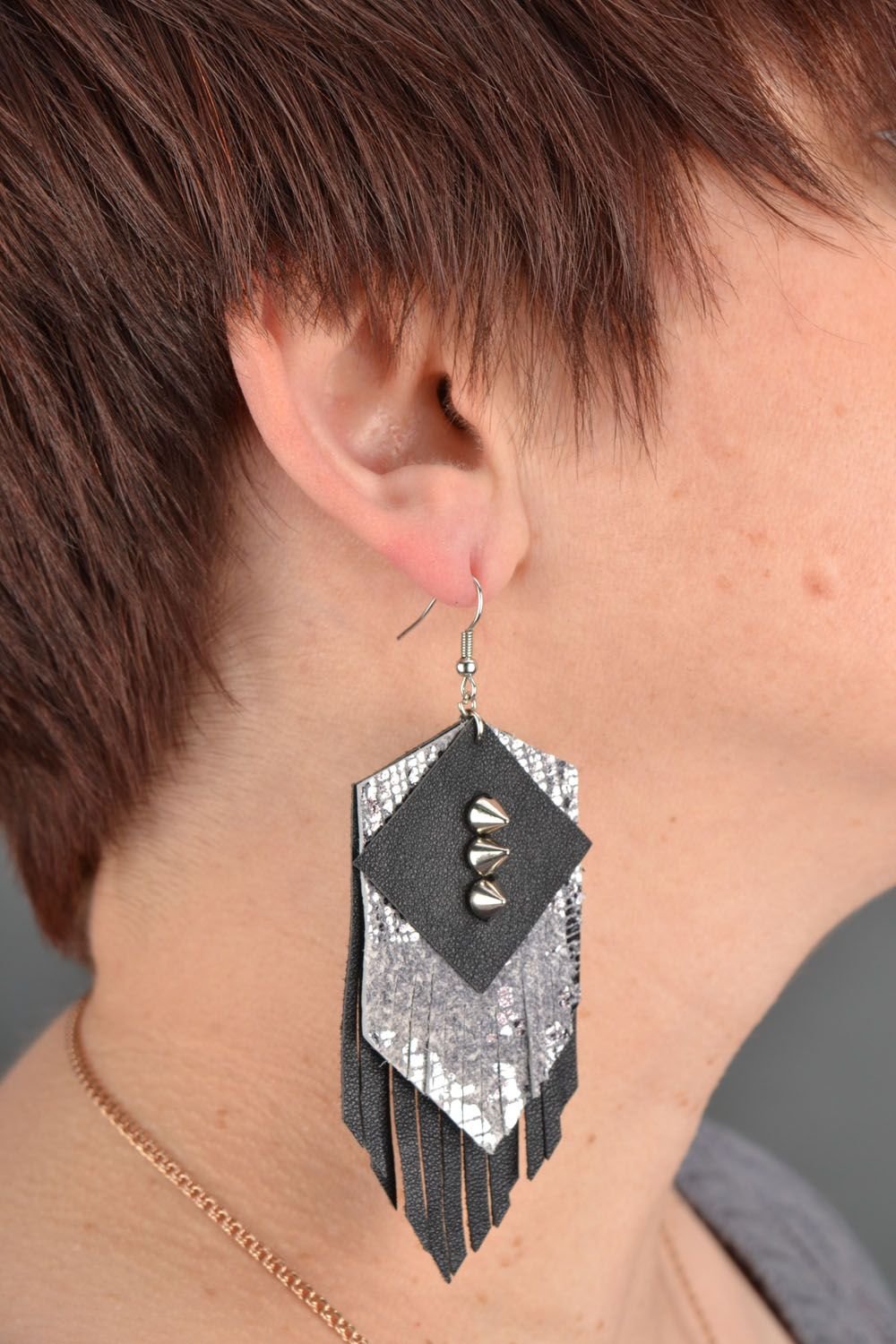 Leather earrings with studs  photo 1