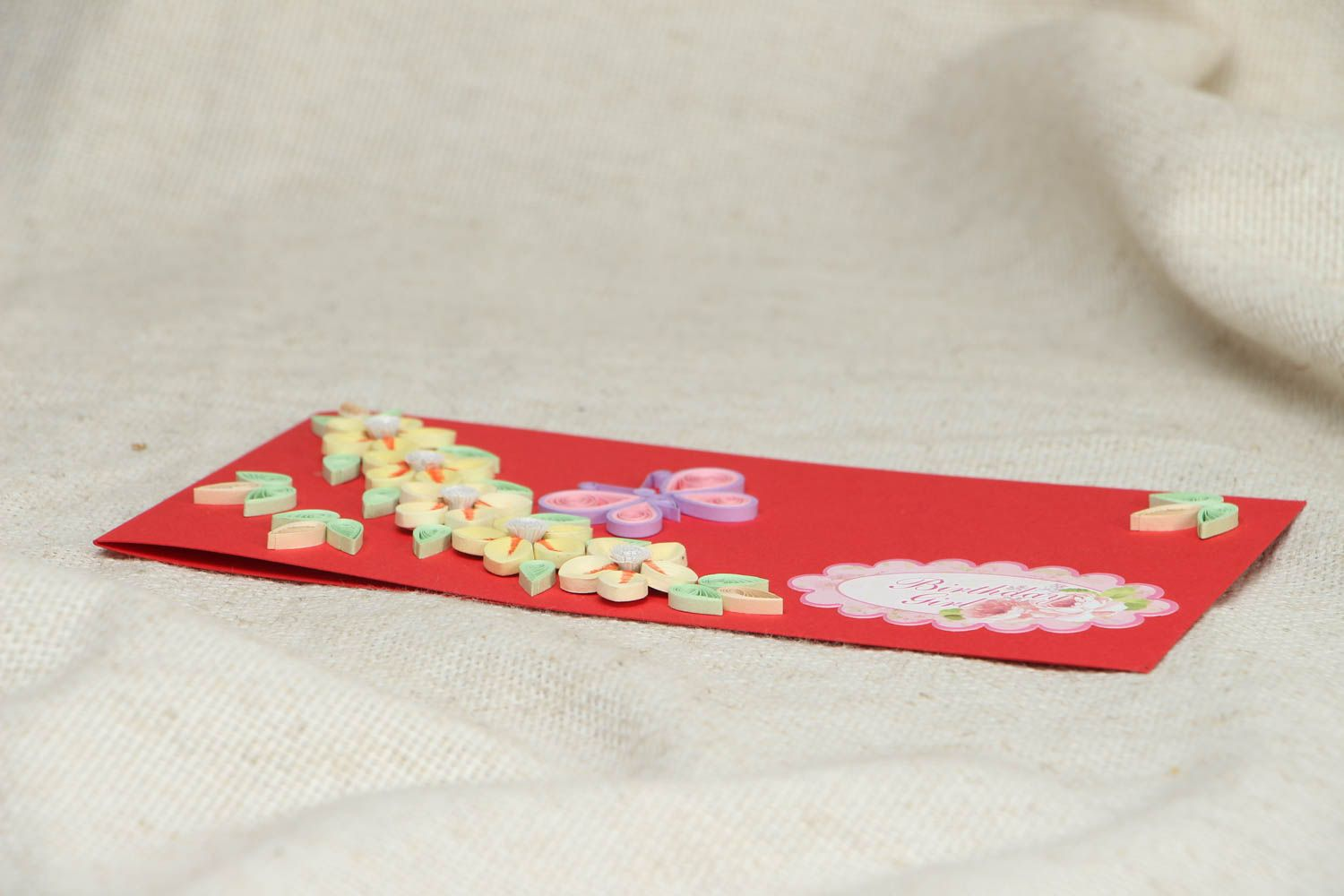Quilling greeting card with flowers photo 3