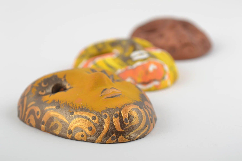 Set of 3 homemade designer ceramic fridge magnets carnival masks photo 4