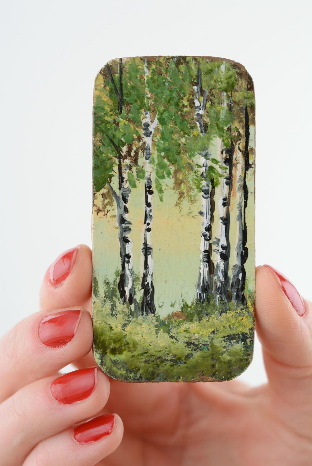 Wooden fridge magnet In the Birch Grove photo 3