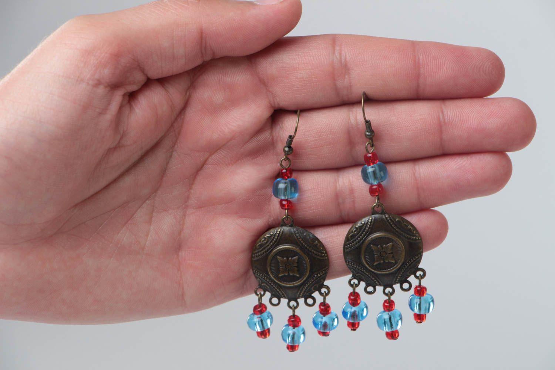 Handmade long metal earrings unusual designer earrings stylish accessory photo 5