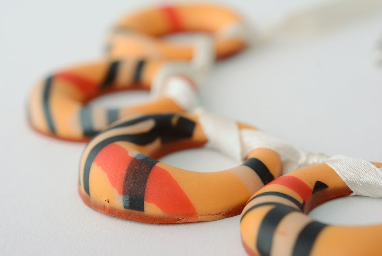 Polymer clay necklace Bagels photo 5