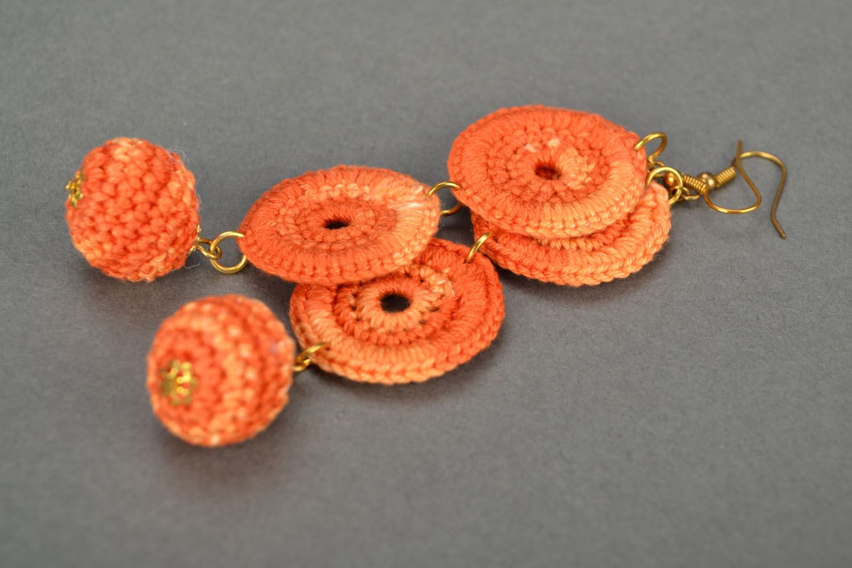 Long orange earrings photo 5