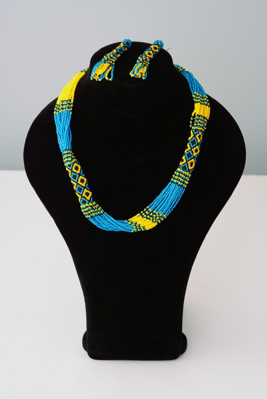 Blau gelbes Schmuckset aus Glasperlen Collier und Ohrringe foto 1