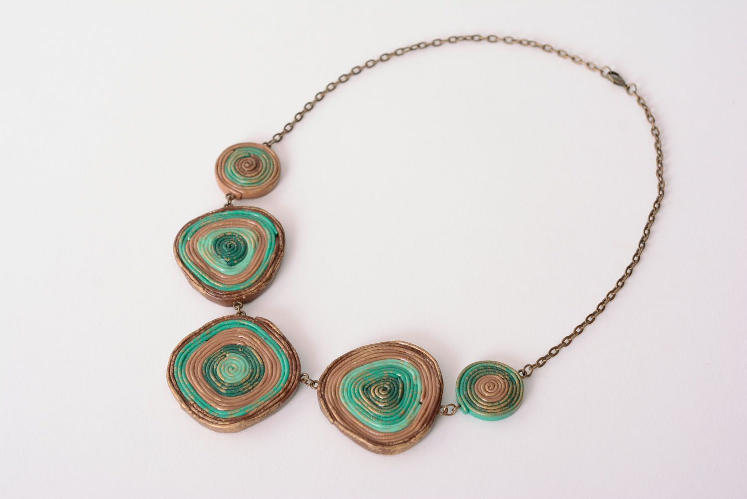 Unusual polymer clay necklace photo 3