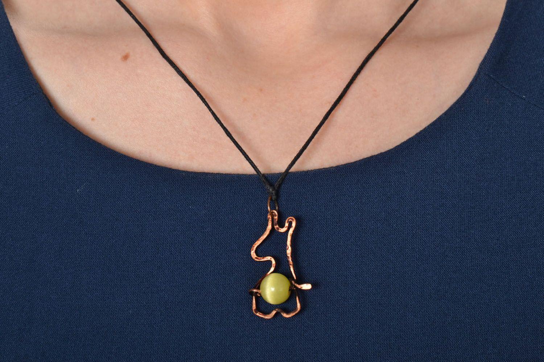 Copper and cat's eye stone pendant photo 2