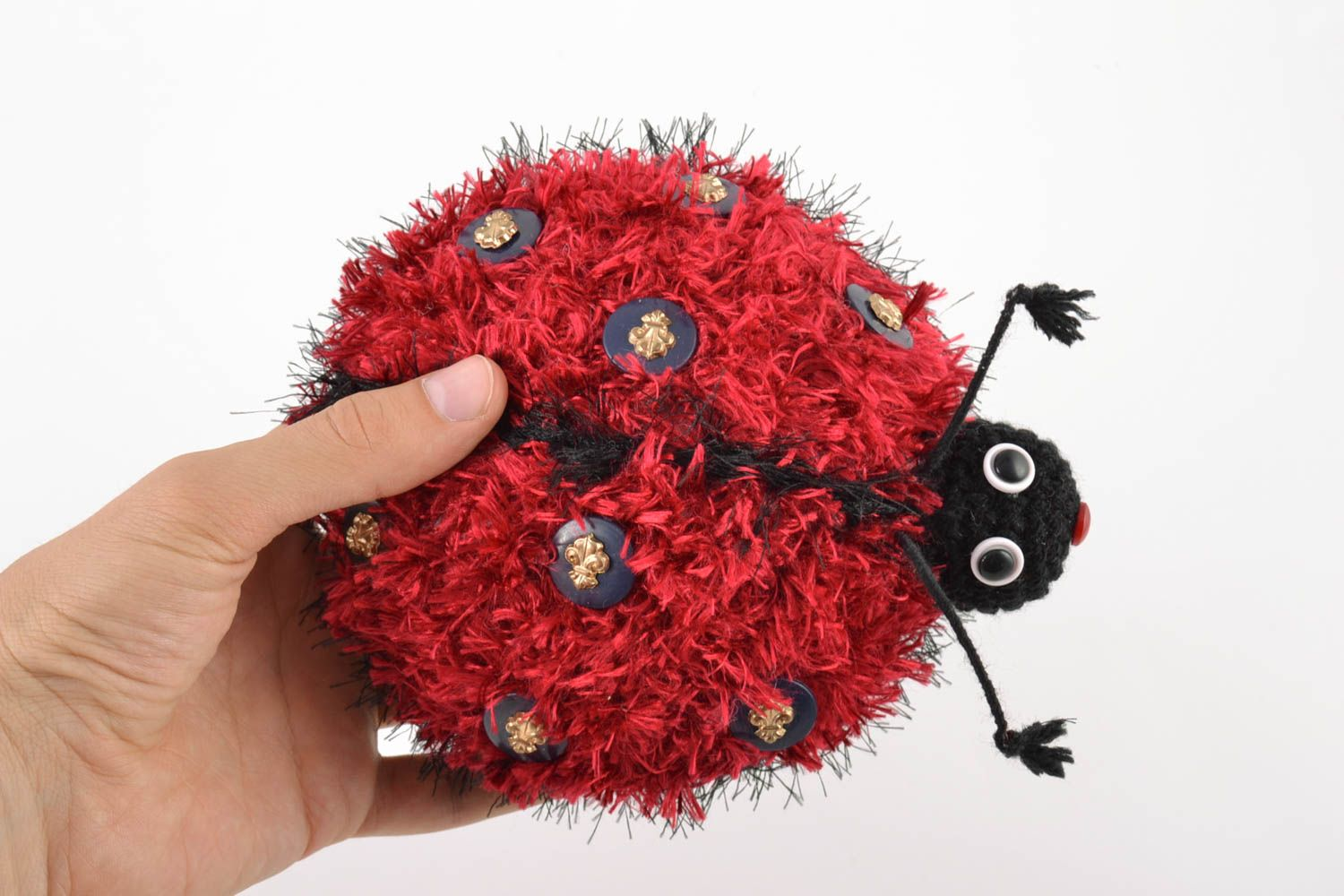 Handmade soft crochet wool toy for children beautiful Ladybug amigurumi photo 2
