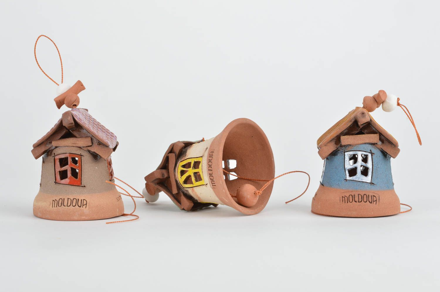 Set of handmade designer clay bells coated with glaze Houses 3 pieces photo 5