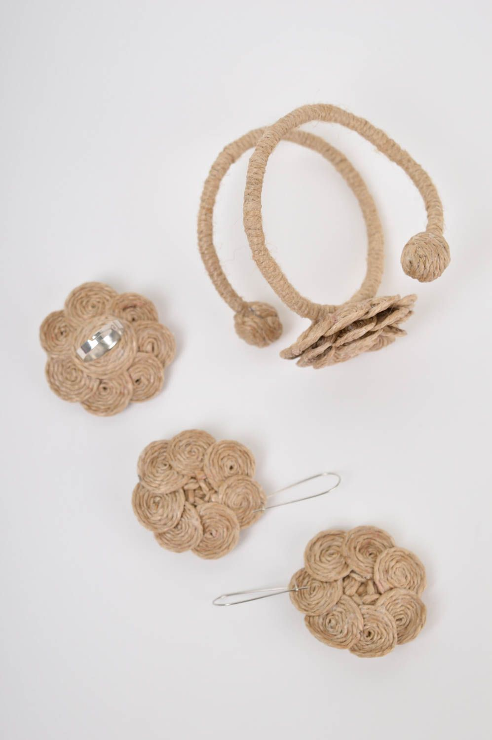 Unusual handmade cord jewelry set handmade earrings bracelet designs flower ring photo 3