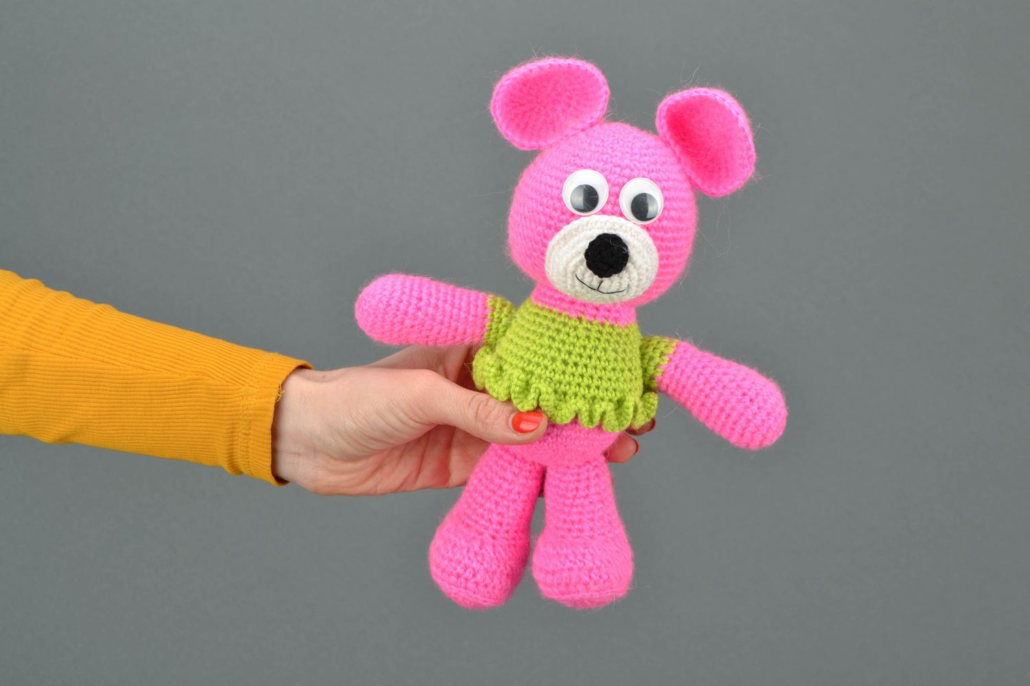knitted toys Soft crochet toy Pink Bear in Jacket - MADEheart.com
