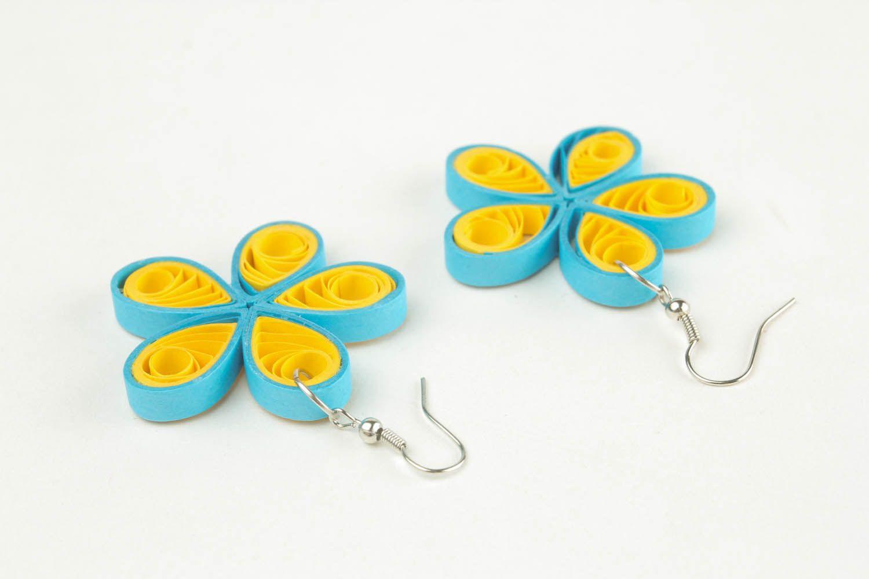 Handmade paper flower earrings  photo 3