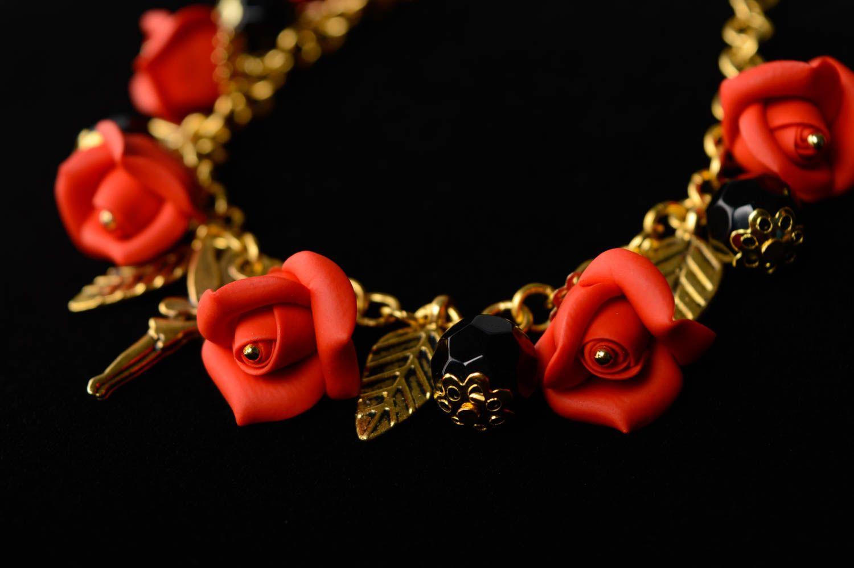 Handmade plastic jewelry set Red Roses photo 4