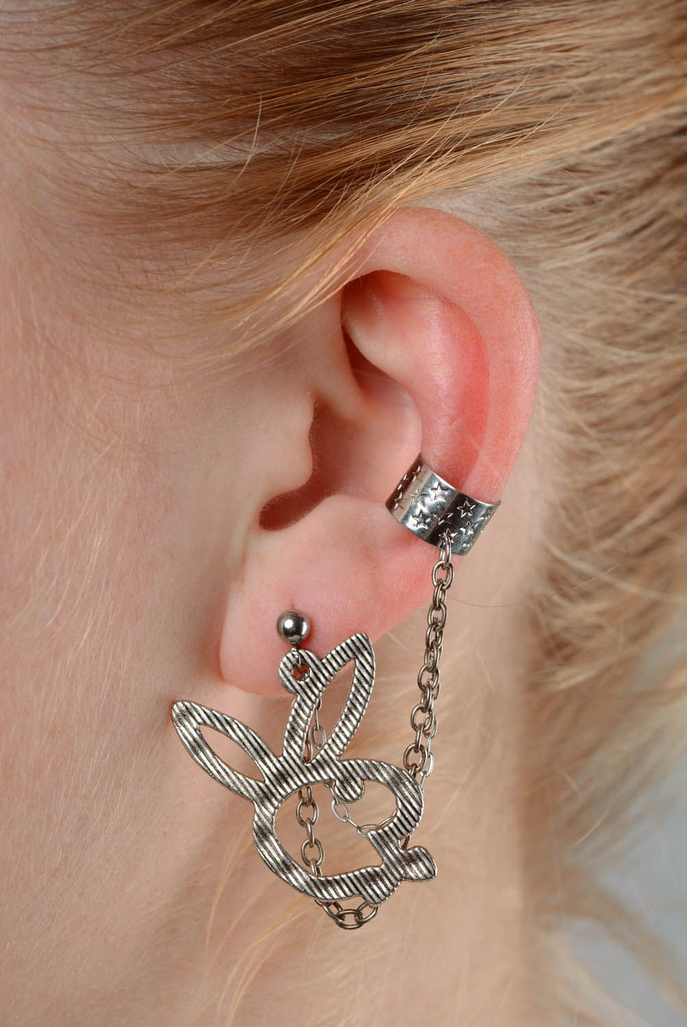 Cuff earrings with a chain Bunny and Butterfly photo 3