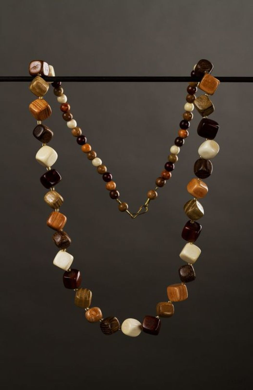 Wooden handmade necklace photo 1