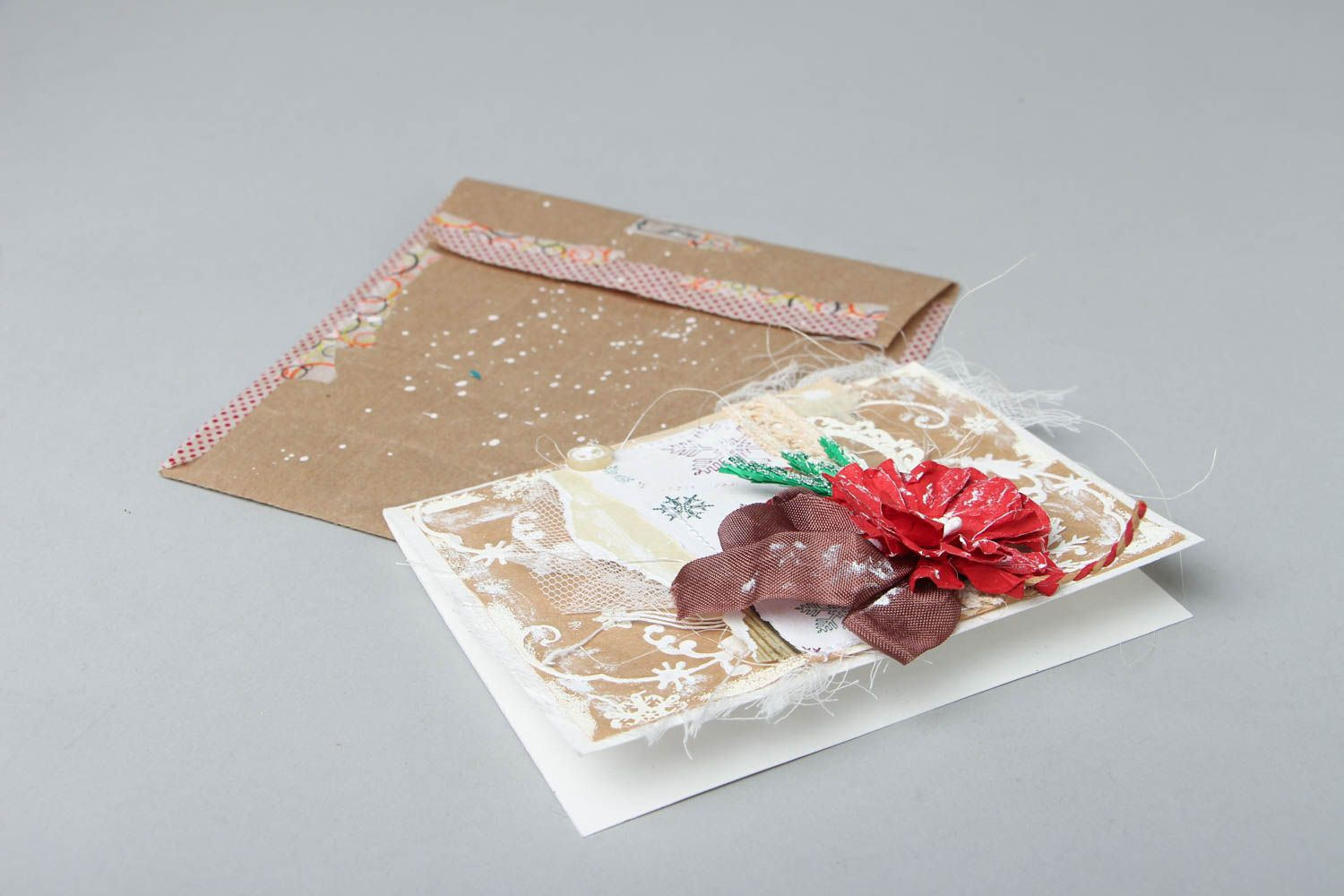 Christmas greeting card with flower photo 3