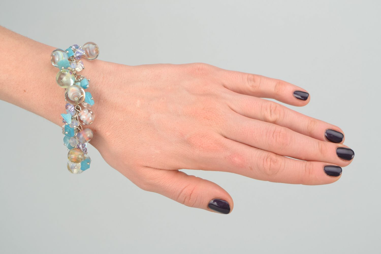 Lampwork glass bracelet Sea Stones photo 3