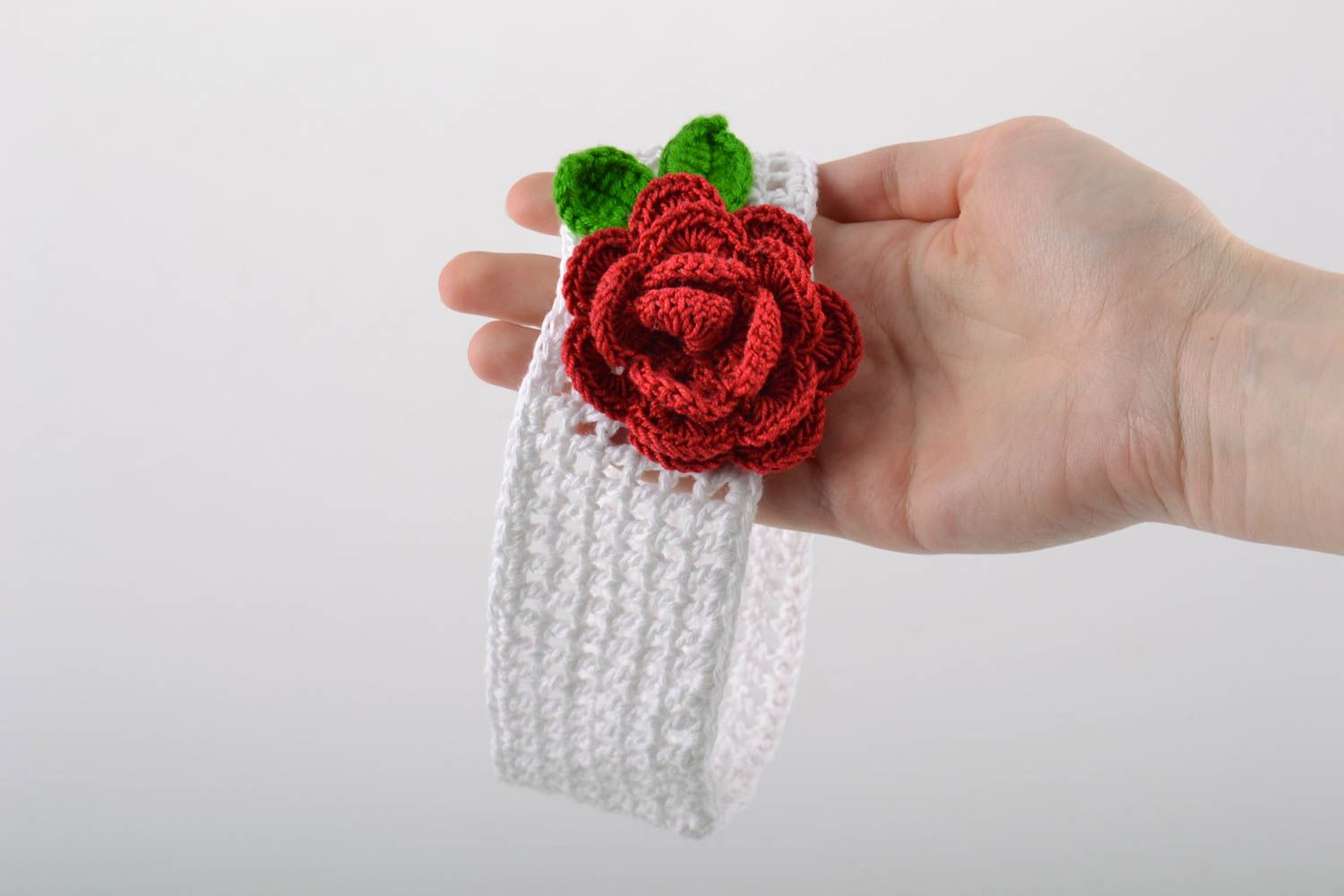 Handmade wide lacy crochet white headband with volume red flower for baby girl photo 2