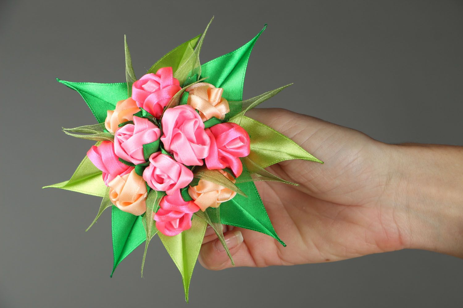 Satin ribbon hair clip Bouquet of Roses photo 4